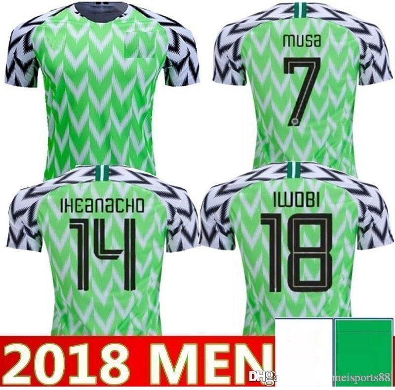 18 Copa do mundo National Social Homens Home Away Jerseys Okechukwu Okocha Ahmed 7 Musa 10 Mikel Iheanacho Futebol Camisa