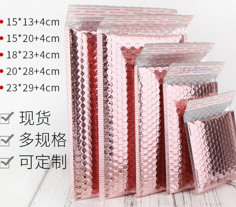 Bolsas Embalaje Office School Business IndustrialRose Sobre Paquete Rose Oro Foil Afile a prueba de choque Regalo Regalo Embalaje Boda Favor B