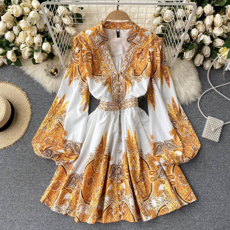 High Waist A-Line Dresses Women Autumn Long Sleeve Spring Vintage Boho Party Lace Dress Luxury Elegant 2021 Embridery print