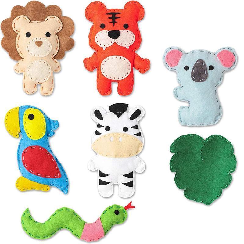 Jungle Animal Sentier Couture Kit de couture pour enfants Wild Animaux Pack Débutant Garçon Garçon Fun DIY Jouet Crêt Crêt Notions Cadeaux Tools