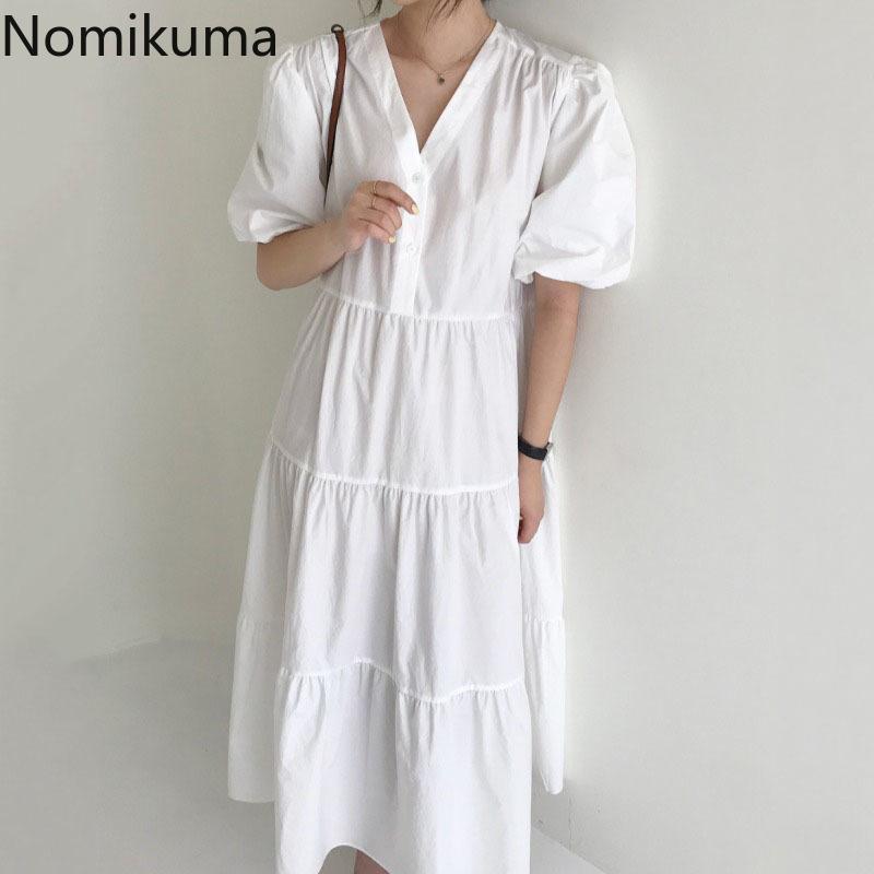 Nomikuma Elegant Dress Women Arrival V Neck Short Sleeve Dresses Unicolor A Line Casual Korean Vintage Fashion Robe 210514