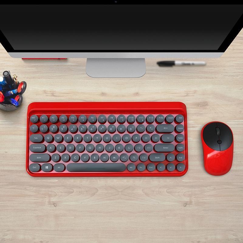 Klavyeler 2.4 GHz Punk Retro Nokta Klavye Ofis Dizüstü Kablosuz Fare Seti Klavye + Kablosuz Muzlu + Pil