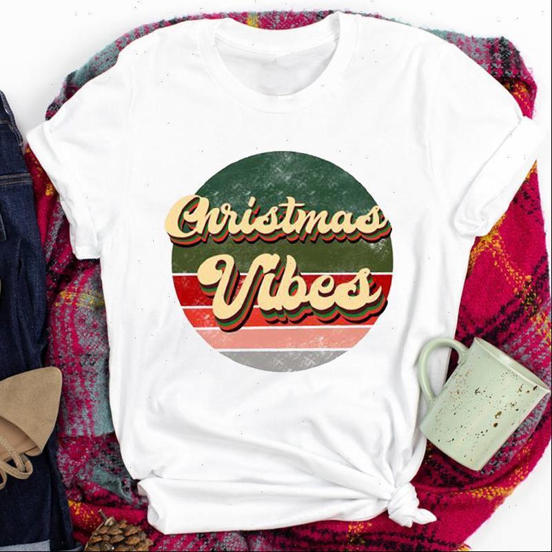 Striped Letter Womens Tops 90er Jahre Süße Druckkleidung T Shirts für Frauen Dame Frohe Weihnachten Drucken Tshirt Kleidung Top Graphic Weiblich