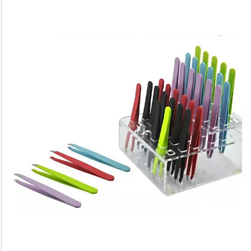 Wholesale-24 قطع الملونة الفولاذ المقاوم للصدأ مائل تلميح الجمال الحاجب الملقط أدوات إزالة الشعر أدنى سعر أفضل ترقية GWC6886
