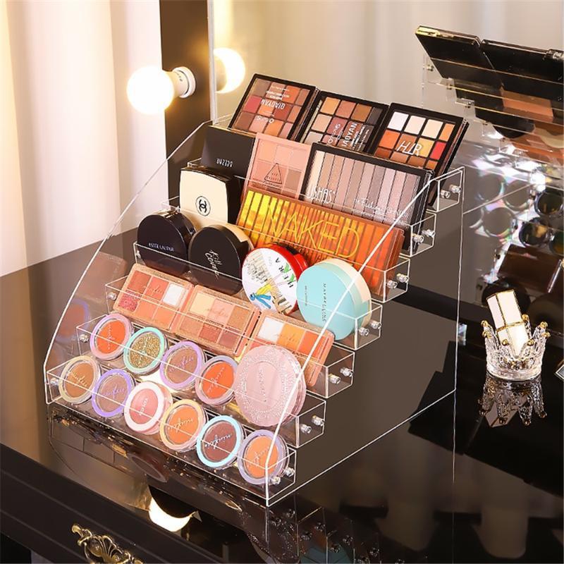 Ящики для хранения BINS Четкие акриловые косметики Организаторы Полки Одиночные тени для век Палитры для теней Компактная подушка прессованного порошка дисплей макияж