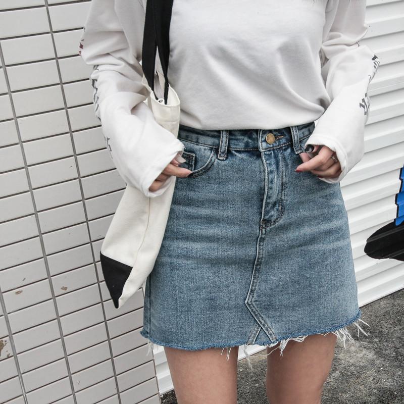 Coreano versátil de empalme corte niña estudiante de mezclilla corta a-line falda
