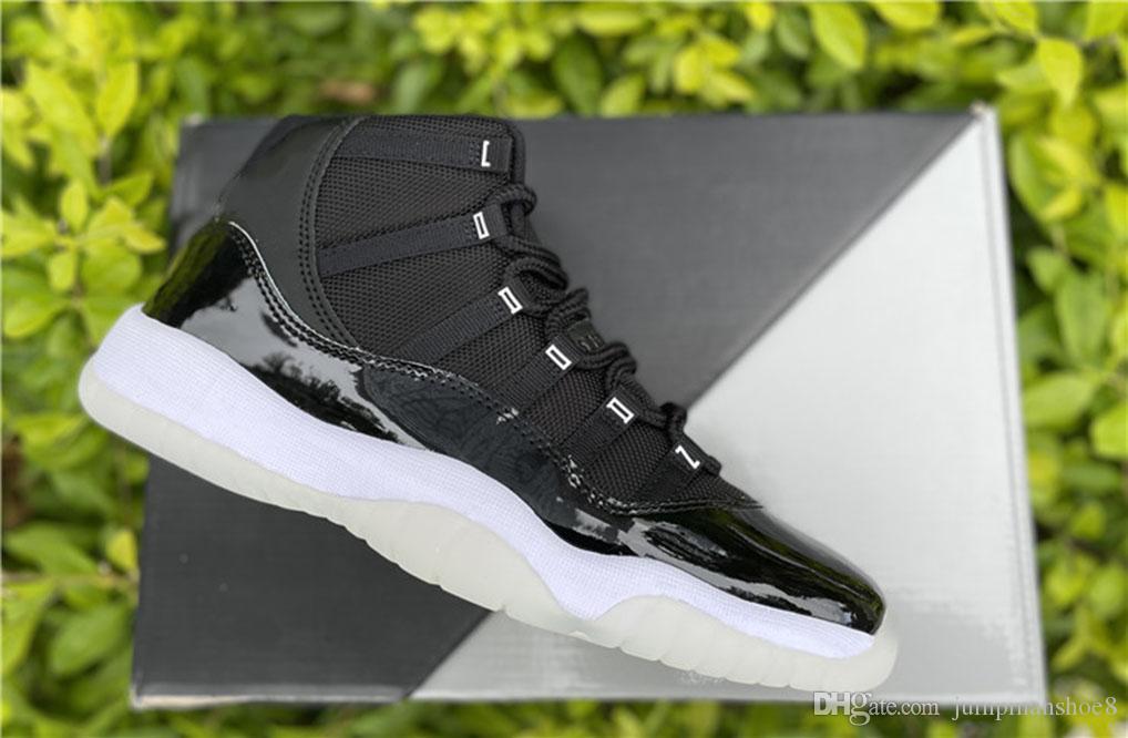 Jubilee 25e anniversaire 11 Chaussures de basket-ball de basket Qualité Real Fibre de carbone Jumpman 11S Clear-White-métallique Silver Fashion Designers Deskers Sneakers viennent avec une boîte