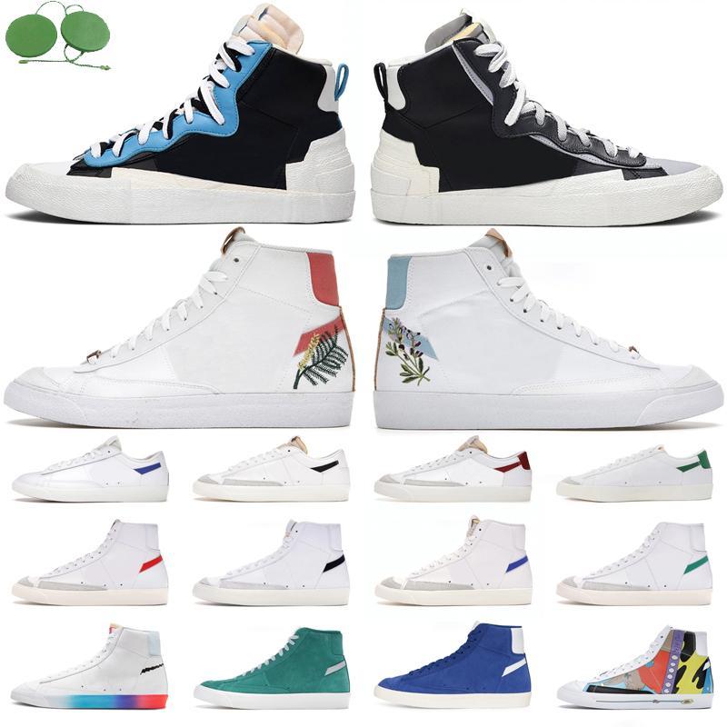 Blazer orta 77 erkek Yüksek düşük koşu ayakkabısı Flora Pack Indigo Catechu Soğuk Gri Çok Süet Yeşil erkek bayan eğitmenleri açık hava spor ayakkabı