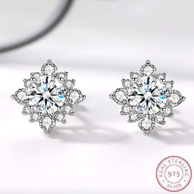 Trendy 925 Sterling Silver Stud Women Earrings Valentine's Day Gift Engagemen Jewelry Bulk Sell XE049