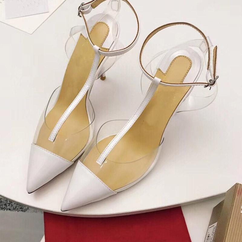 Kırmızı Alt Yüksek Topuklu T Kayış Temizle Slingback Topuklu Kırmızı Beyaz Sivri Burun Yüksek Topuklu Şeffaf Topuk Kadın Yaz Ayakkabıları Pompalar
