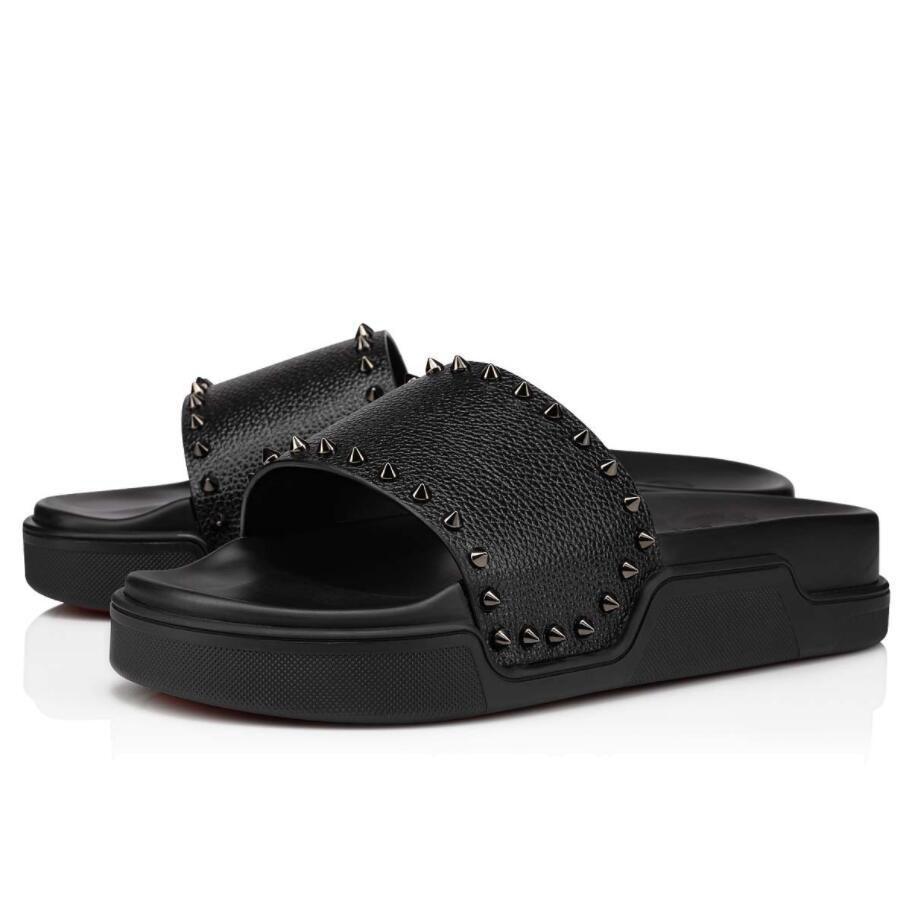 Летние мужские сандалии квартиры !! S-качество Красный нижний бассейн веселые слайды пляж мальчик тапочки шлепанцы с шипом роскоши дизайнер красивый сандал EU38-47