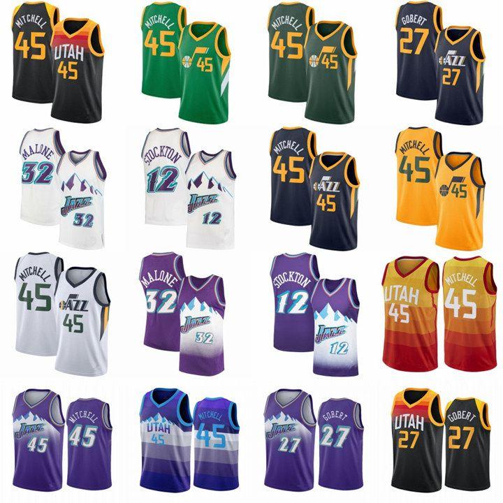 """빈티지 도노반 45 Mitchell Basketball Jerseys 남성 루디 27 Gobert Mike 10 Conley John 12 Stockton Utah """"Jazz""""City Karl 32 Malone Green Edition 레트로 셔츠"""
