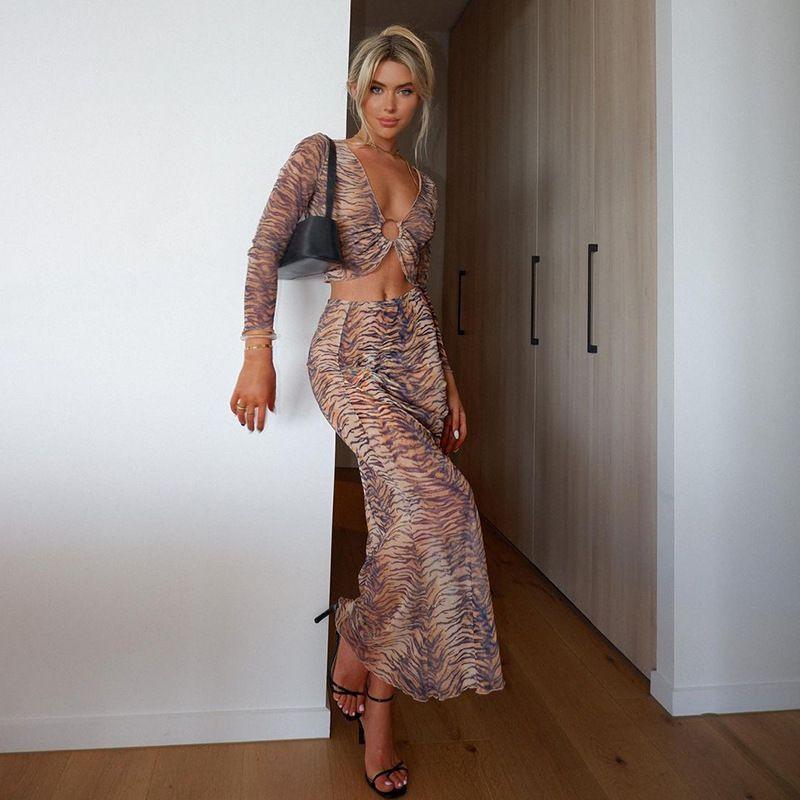 Stampa Moda Abiti Sexy Cut-out Top e Gonne Set di due pezzi Abbigliamento Abbigliamento 2022 Set da donna manica lunga