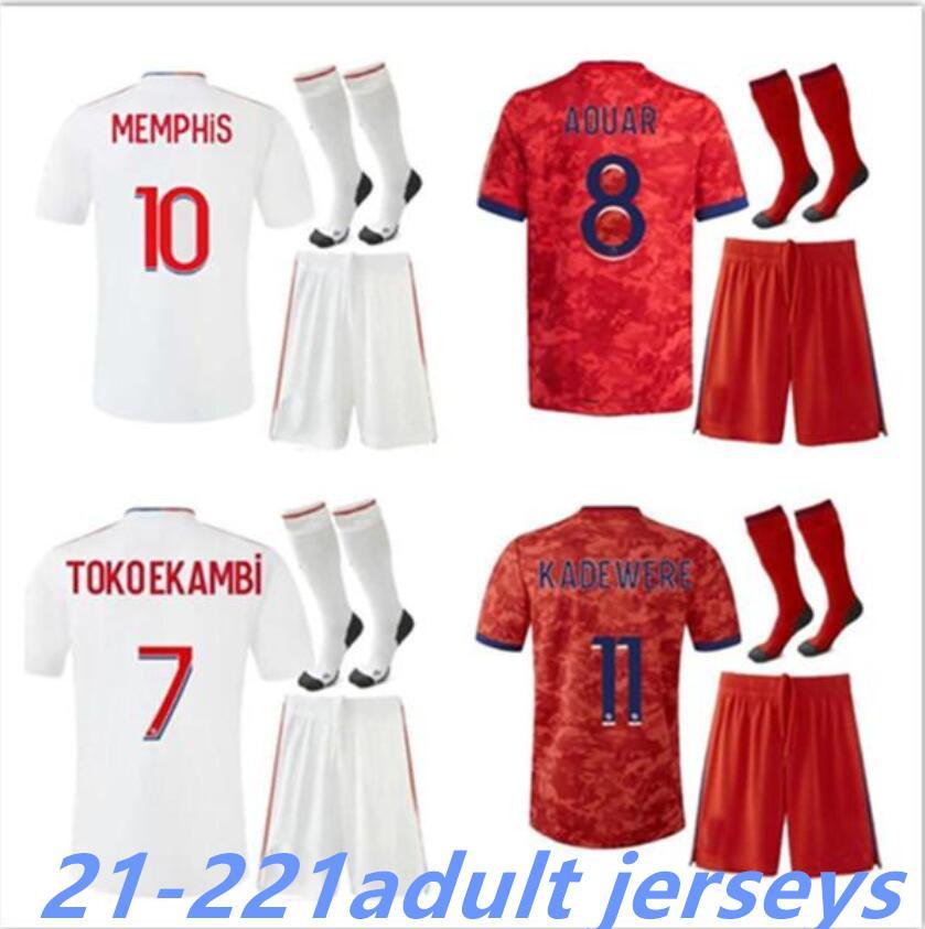 2021-2022 Olympique Lyonnais Lyon Futbol Forması 21 22 Maillot Ayak 2021 2022 Maillots De Futbol Gömlek Traore Memphis OL Yetişkin Seti
