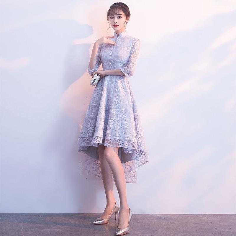 회색 여성 Asymmetral cheongsam 스커트 달콤한 우아한 자수 꽃 이브닝 드레스 레트로 버튼 중국어 드레스 대형 가운 민족 clothi
