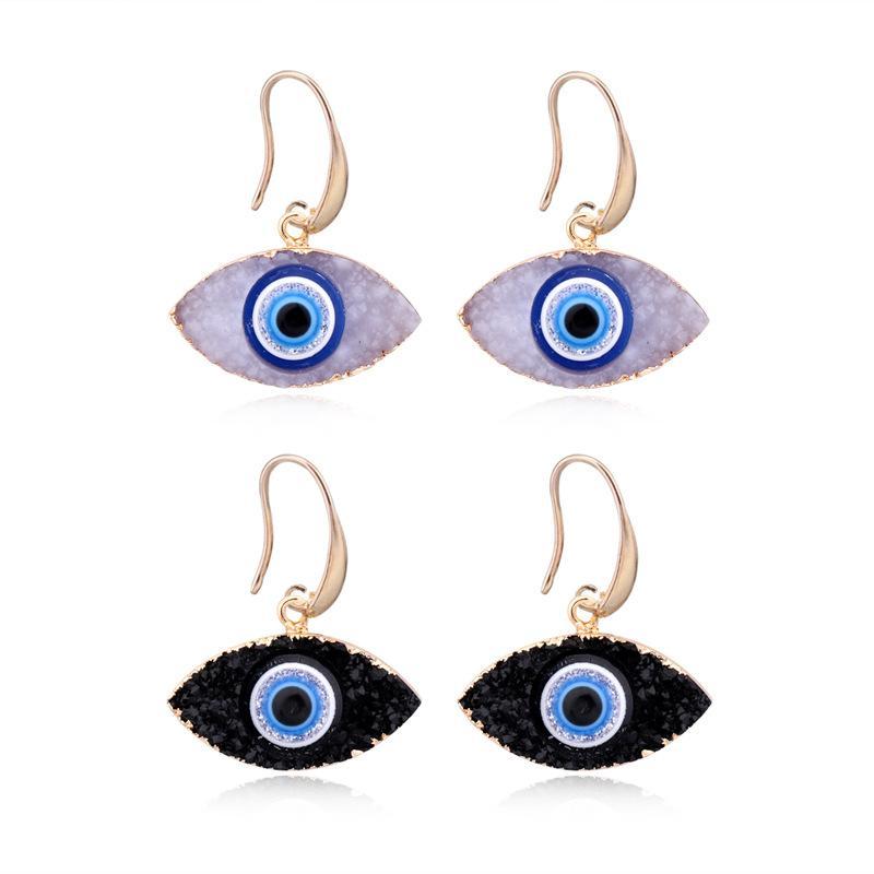 Moda Eye Druzy Drusy Brincos Banhado em Ouro Geometria Faux Stone Natural Ressin Brincos Para As Mulheres Jóias 489 Q2