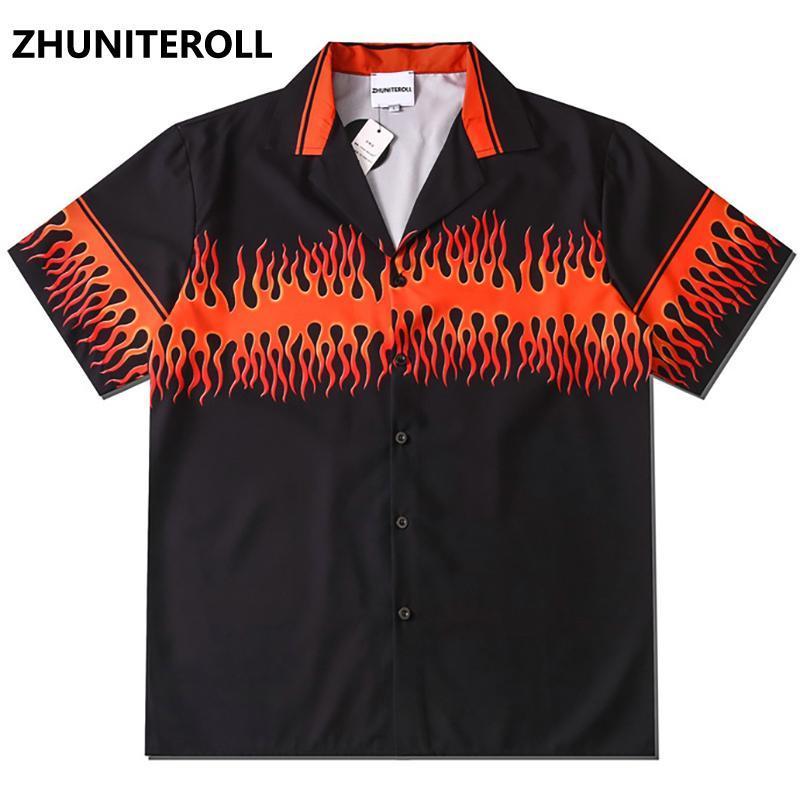 더블 불꽃 인쇄 힙합 셔츠 망 망 하와이 셔츠 하라주쿠 여름 해변 하와이 탑스 짧은 소매가 스트리트웨어 남자 캐주얼