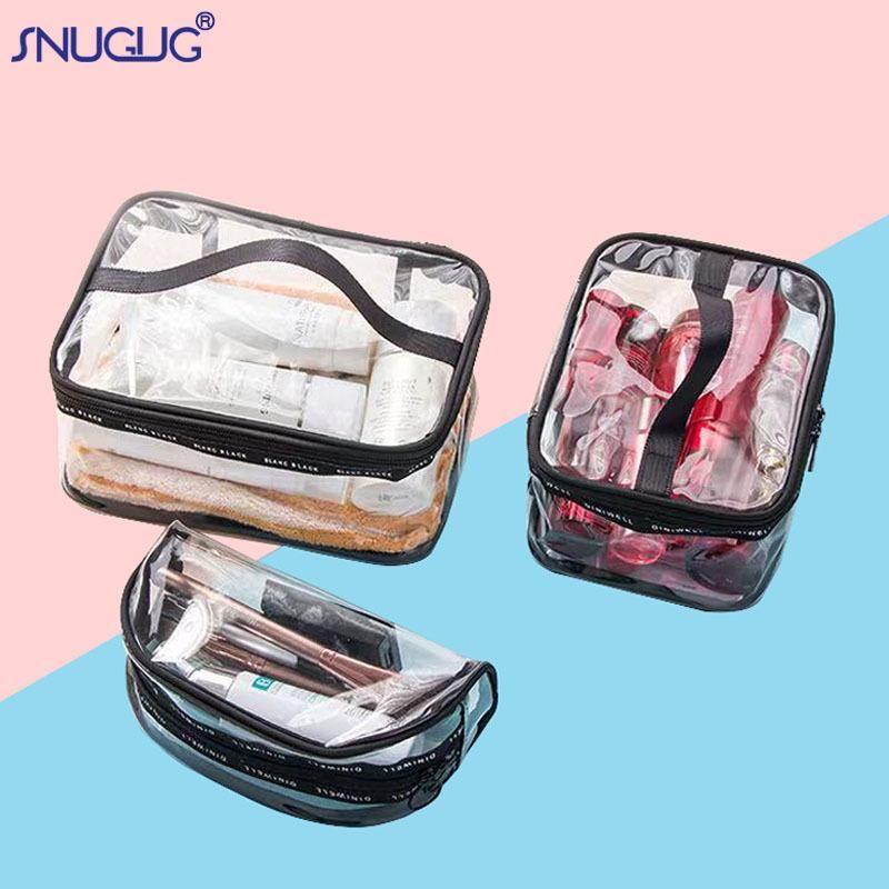Bolsa de cosmética impermeable transparente Mujer portátil Viajes de aseo grande para mujer Bolsa de lavado de damas Organizador Casos de maquillaje claro