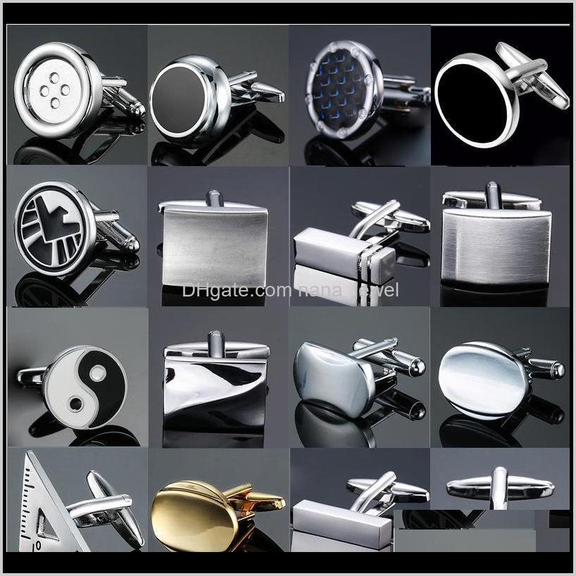 Классический дизайн Мужская французская рубашка манжета кнопка высокого качества меди серебряные металлические черные эмаль запонки лазерные металлические запонки K36MV VTOPS