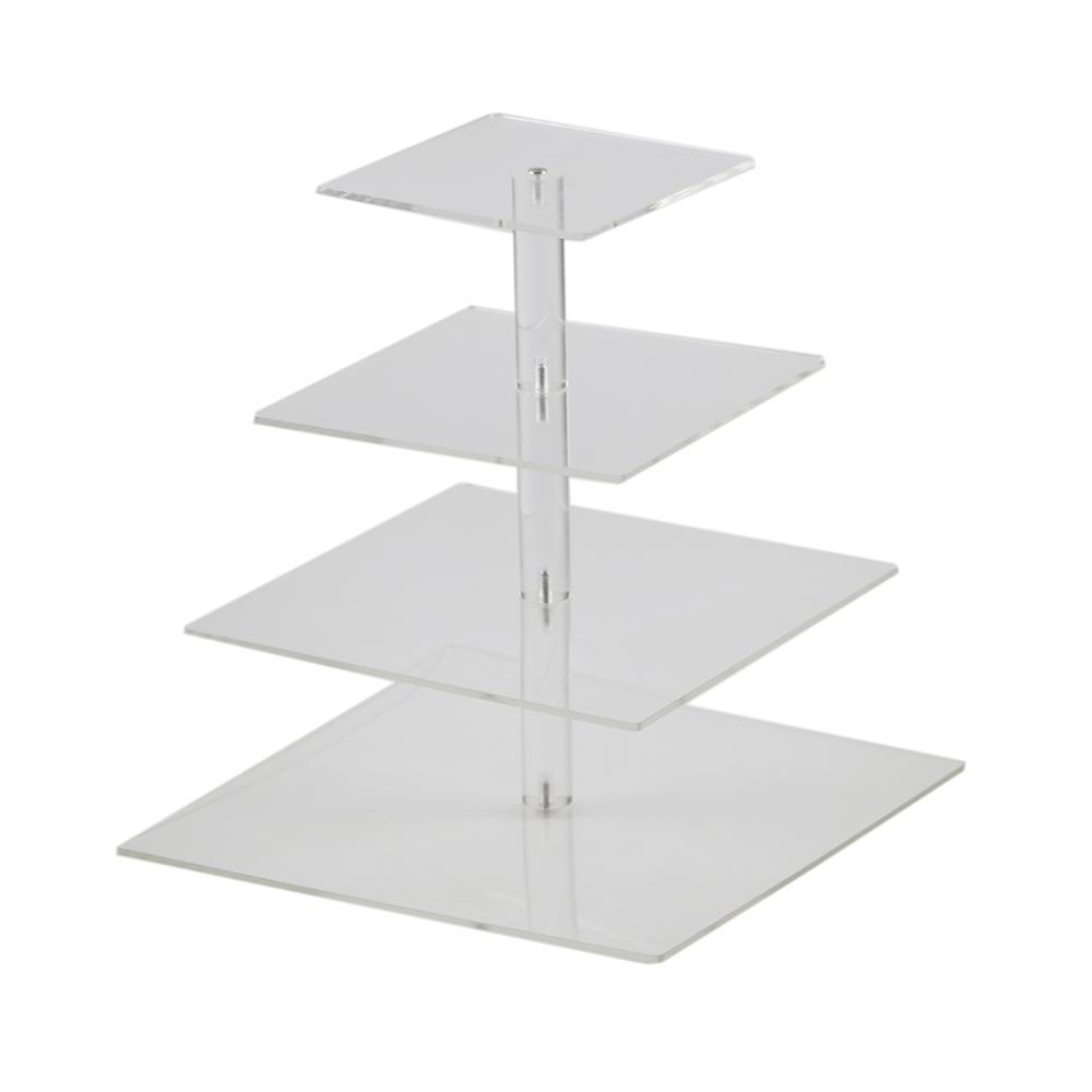 Hmrovoom Square 4 уровня акриловые кекс дисплей подставки / акриловый держатель торта для украшения вечеринки свадьбы
