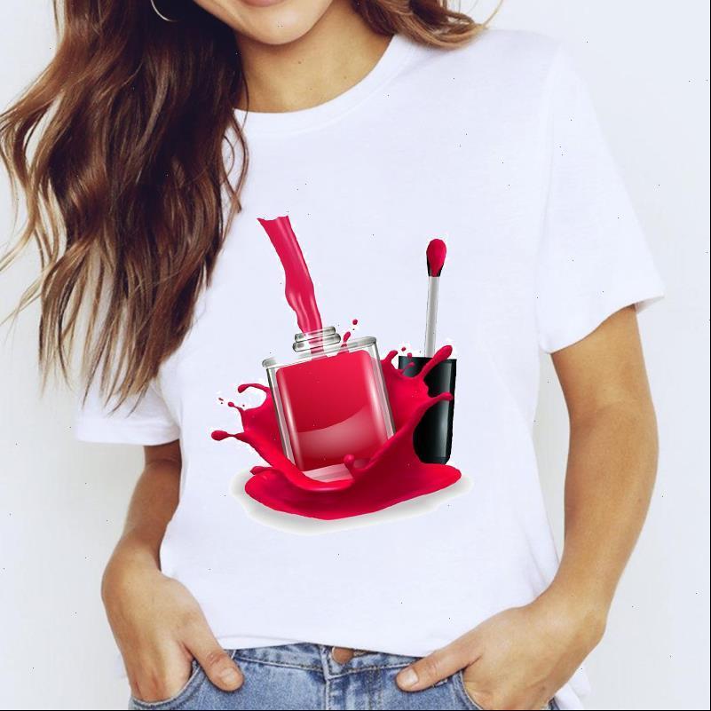 Damen T Shirts Top für Frauen 3D Make up Lippe Trend Fingernagel Nail art Kleidung Print Dame Graphic Hemd Damen