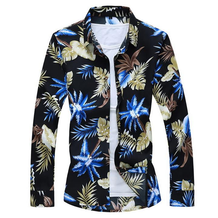 Strand lässig schwarz hellblau orange floral shirt für mann 2021 fußball jersey frühling kleidung männer lange ärmel größe m-xxl