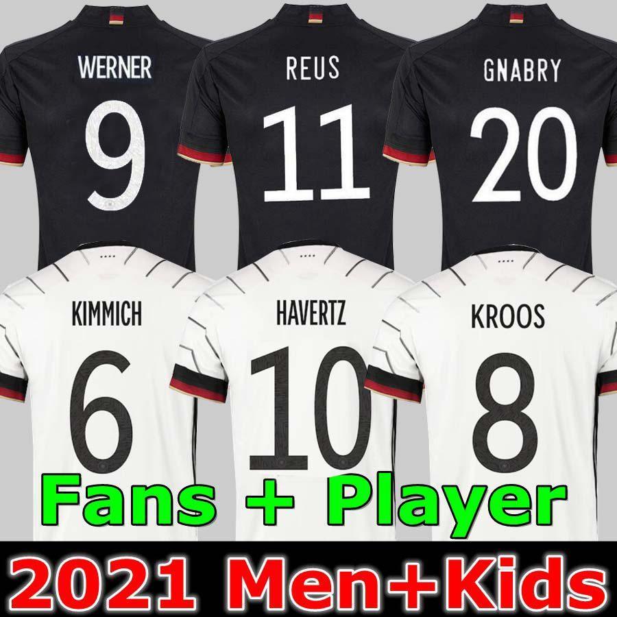 Allemagne Jersey de football 2020 2021 Version du joueur aux fans Hummels Kroos Gnabry Werner Draxler Reus Reus Muller Getze Coupe européenne Temple de football Uniformes Hommes + Enfants Kit