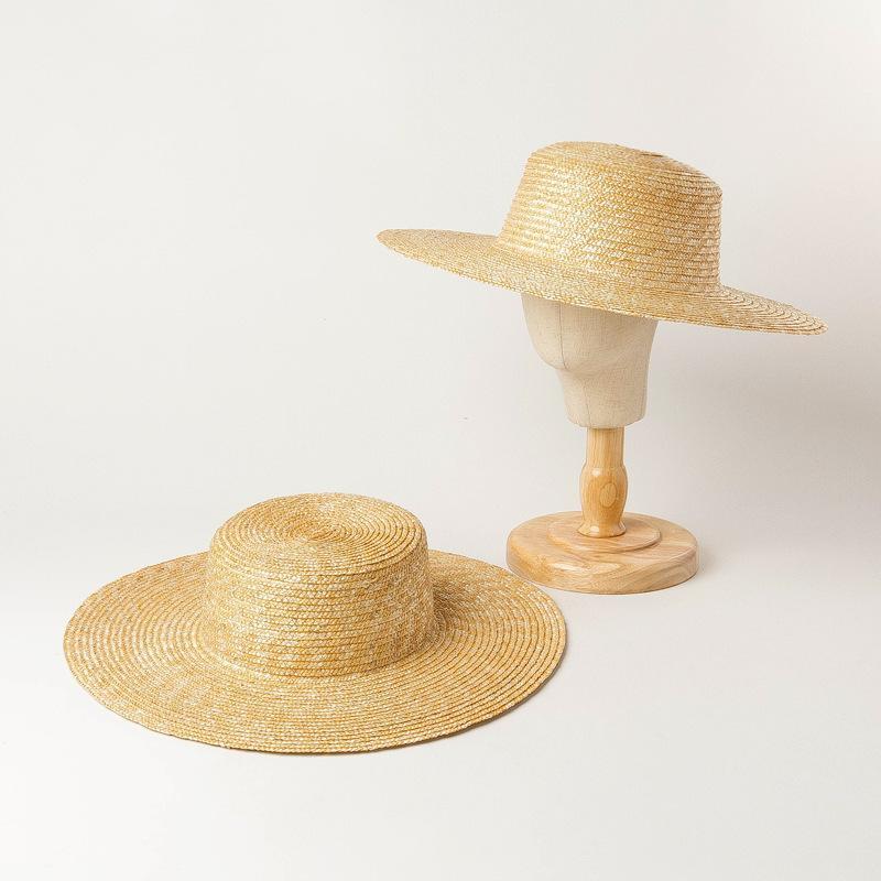 Дети сплетенные широкополитенные соломенные шапки мальчики летние девушки большие краевые плоские крышки дети лафита трава ткачество Sunhats праздник пляжные шапки козырьки A6268