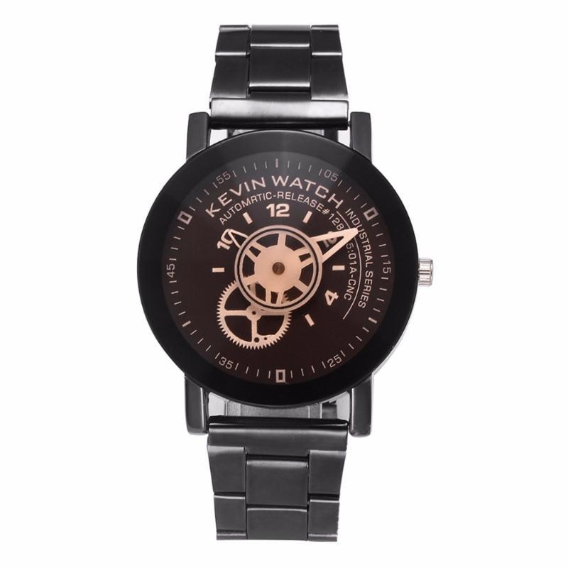 100 pçs / lote kevin marca estilo giratable estilo preto relógio de aço moda casual envoltório casual liga de quartzo atacado relógios de pulso