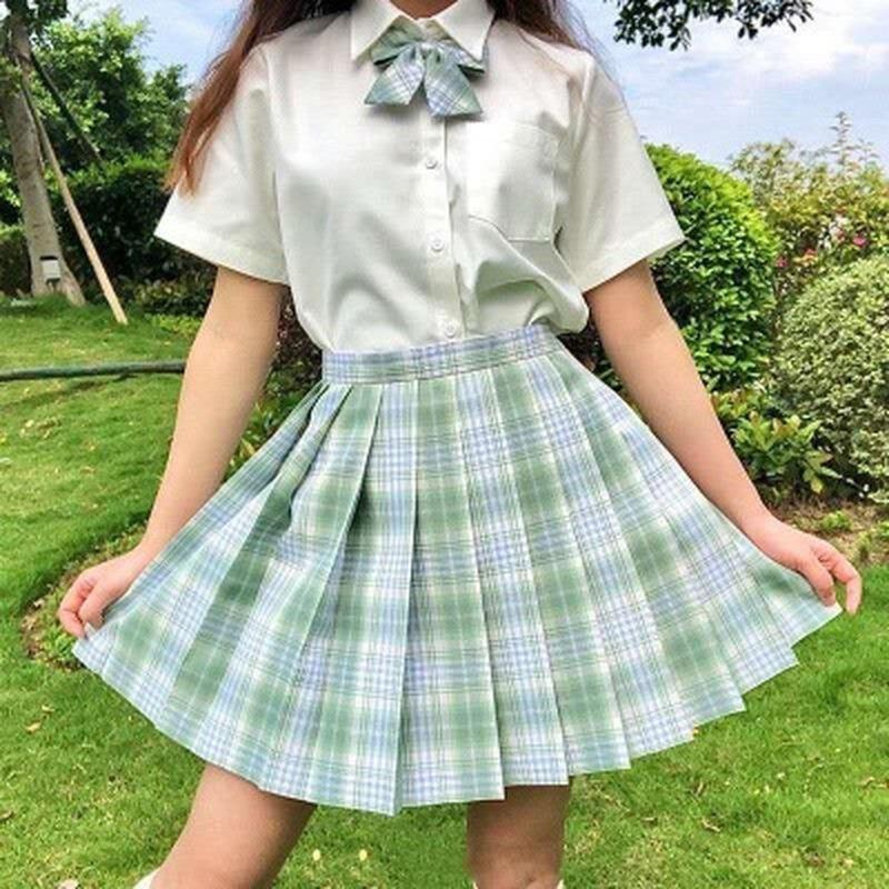 SHIRTSSUMMER MINI PLAID SETS DOS PIEZAS SET HIGH CINTURA STUDS PLISED Faldas góticas para mujeres estudiantes uniforme