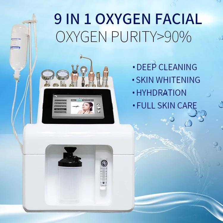 9 in 1 산소 제트 아쿠아 필 기계 Microdermebrasion 피부 젊 어 짐 Cryo 얼굴 및 눈 리프팅 아름다움 도구