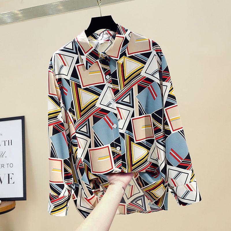 Primavera autunno autunno camicetta da donna coreano stile contrasto colore geometrico stampa camicia a maniche lunghe chiffon allentato femminile top femminili GX315 Blouses Shi