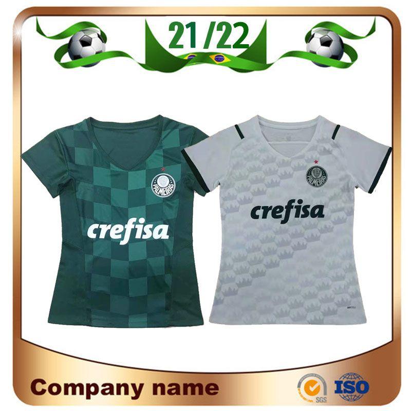 2021 Женщина Palmeiras # 10 Moes Soccer Jersey 21/22 Home Green # 9 Borja Рубашка прочь белый # 7 Dudu девушка футбольная форма
