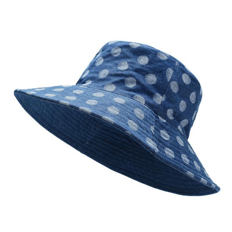 Puntos impresos Cubo Sombrero Mujeres Coreano suave pescador gorra verano pesca algodón azul solhat hembra viaje casual ancho sombreros