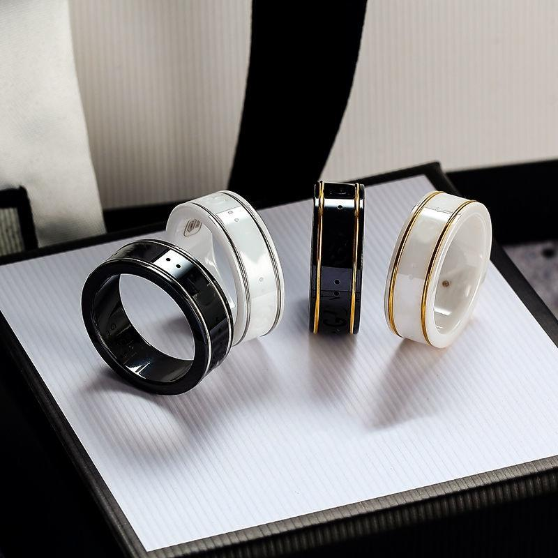 تصاميم الذهب حافة زوجين حلقات خطاب بسيط حلقة أعلى جودة السيراميك المواد الأزياء هدايا مجوهرات العرض