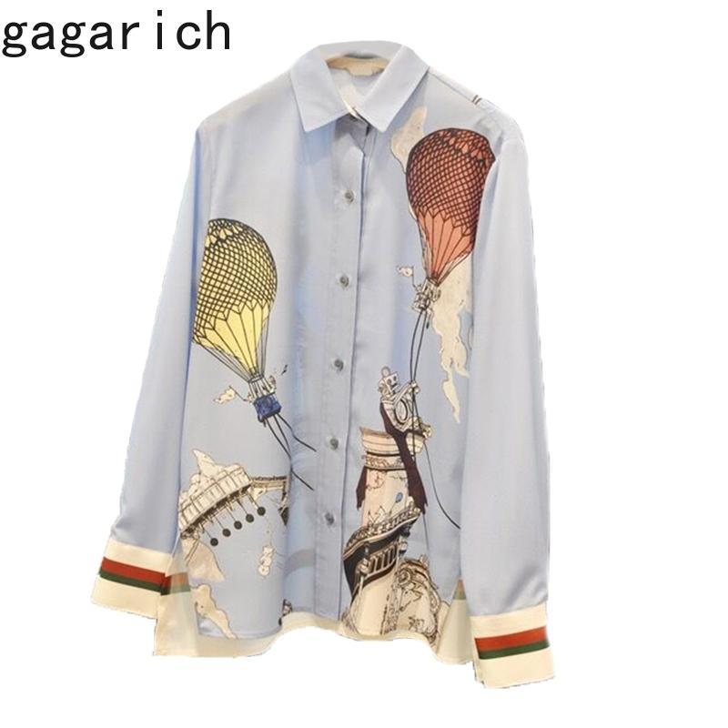 Camisas Mulheres Primavera Outono Francês Chique Vintage Temperamento Feminino Idade-Reduzindo Balão De Desenhos Animados Impressão Design Blusa 210506
