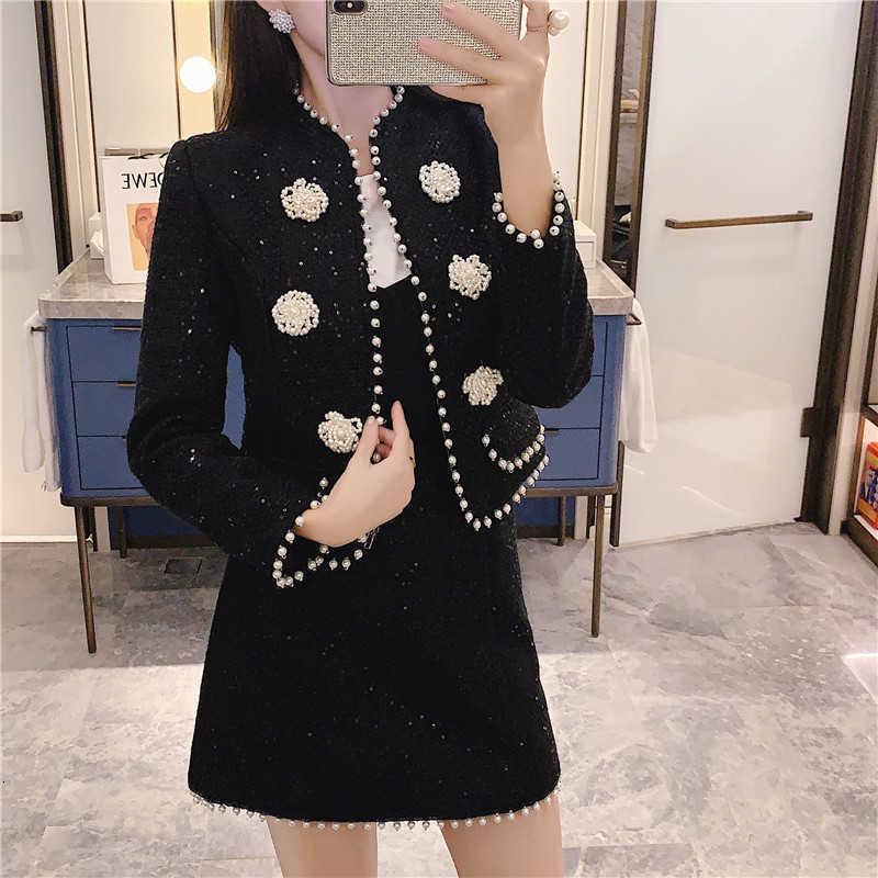 Two Piece Dress Autumn Winter Runway Black Shinny Tweed Wool s Set Women Beading Pearls Short Jacket Coat + Mini Woolen 1NXV