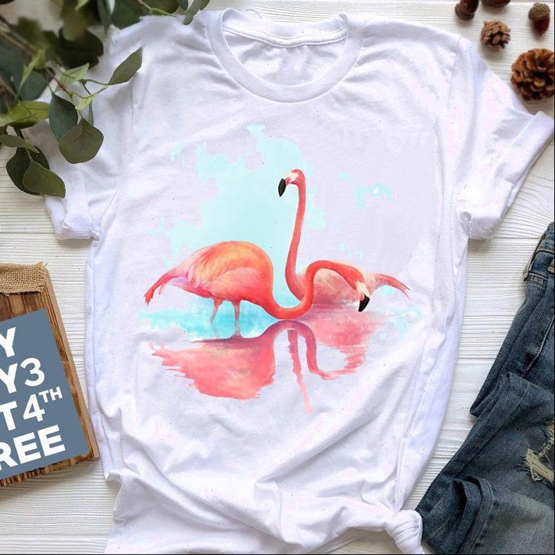 Frauen T-Shirts Flamingo Shirt Mode Harajuku Kurzarm Weibliche Sommer Plus Size Weiße Tops