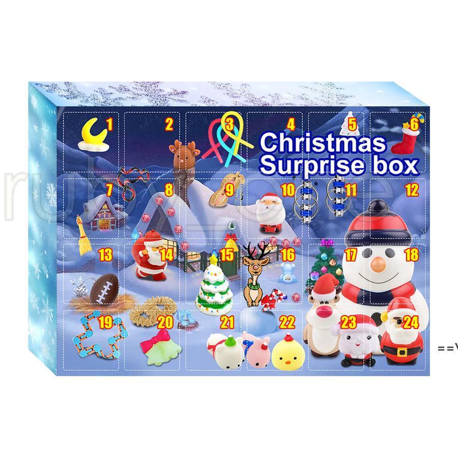 Рождественский сюрприз слепой коробку Advent календарь 24 дня Рождественские отсчета календарь декомпрессионные игрушки набор слепых коробку партии морской путь HHD10057