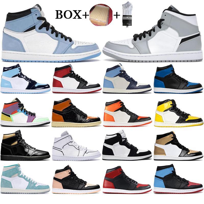 مع صندوق رجل 1 أحذية كرة السلة عالية 1S جامعة محظورة الأزرق الحرباء Hyper Royal Top 3 UNC Orange Sports Sneakers EUR 36-46