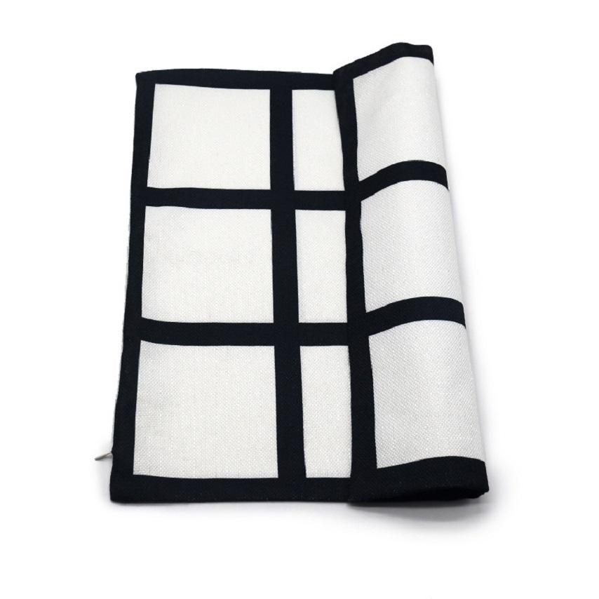 9 painel travesseiro de travesseiro sublimation travesseiro caso preto grade tecido tecido de transferência de calor de poliéster lance sofá travesseiros 40 * 40cm zze5012