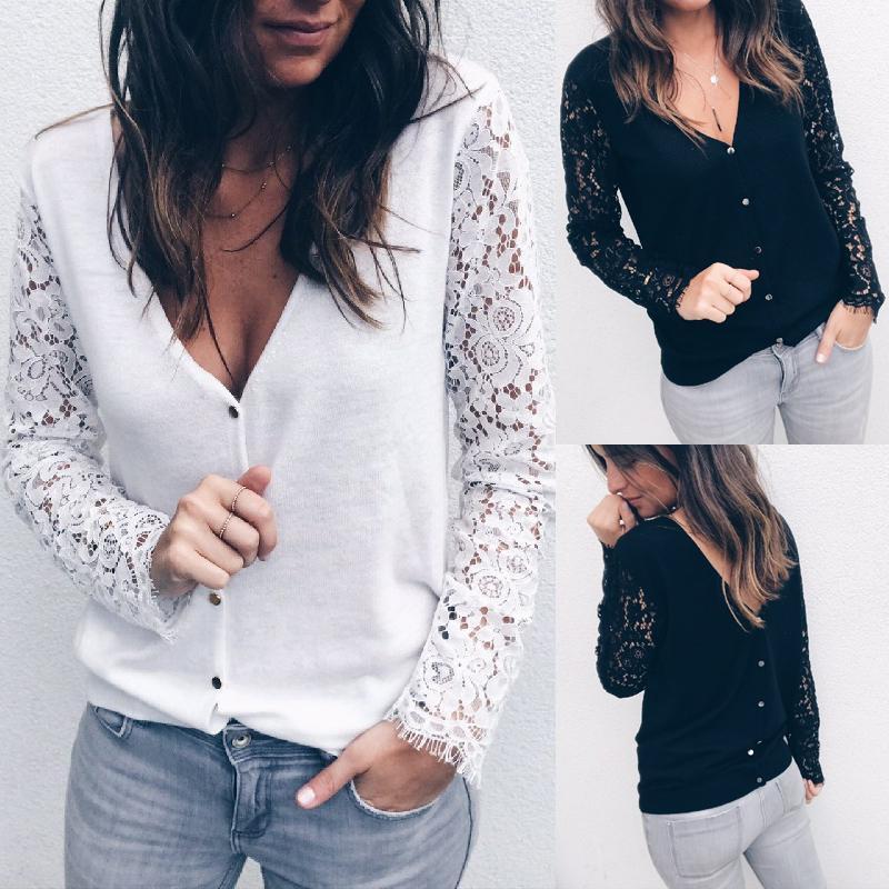 Kadınlar Dantel Uzun Kollu Üst Bluzlar 2021 Moda İlkbahar Sonbahar Beyaz / Siyah Gevşek Gömlek Bayanlar Rahat V Yaka Zarif Bluz Oymak