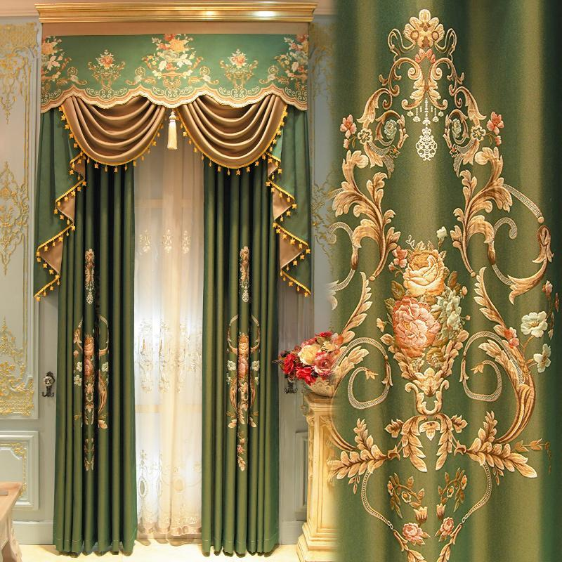 Curtain & Drapes American Style Luxury High-end Atmosphere European Jacquard Curtains For Living Room Bedroom With Valance Custom Size