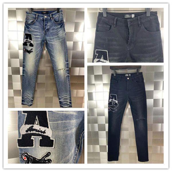 Última listin Luxurys Designe Mens Jeans Strinestone Remendo Medalha Fold Moda Homens Motocicleta Motocicleta Motocicleta Calças Hip Hop Calças Top Quality Tamanho 28-40