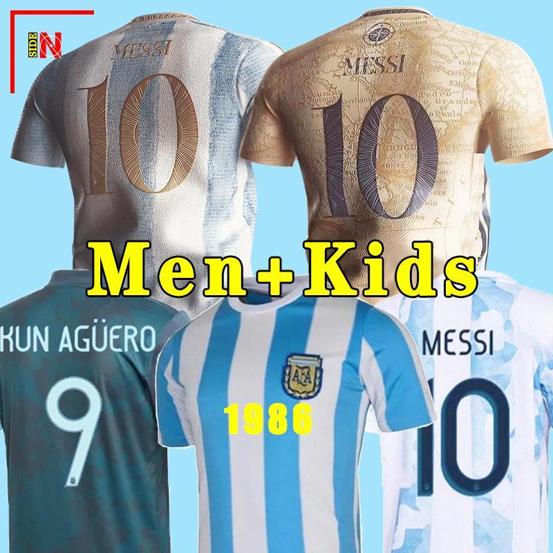 아르헨티나 축구 유니폼 팬 및 플레이어 버전 2021 Copa America Messi Dybala Aguero 축구 셔츠 남성 + 키트 키트 세트 유니폼 2021