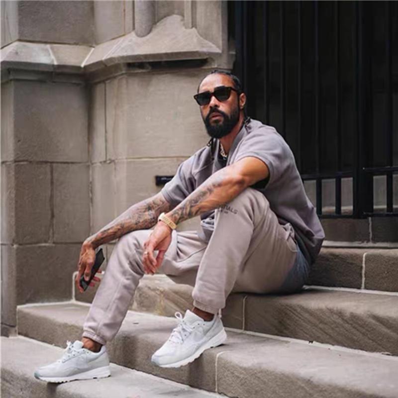 Línea sensación de elementos esenciales Dios niebla peluche doble pantalones 3M reflectante High Street sin pantalones de peluche