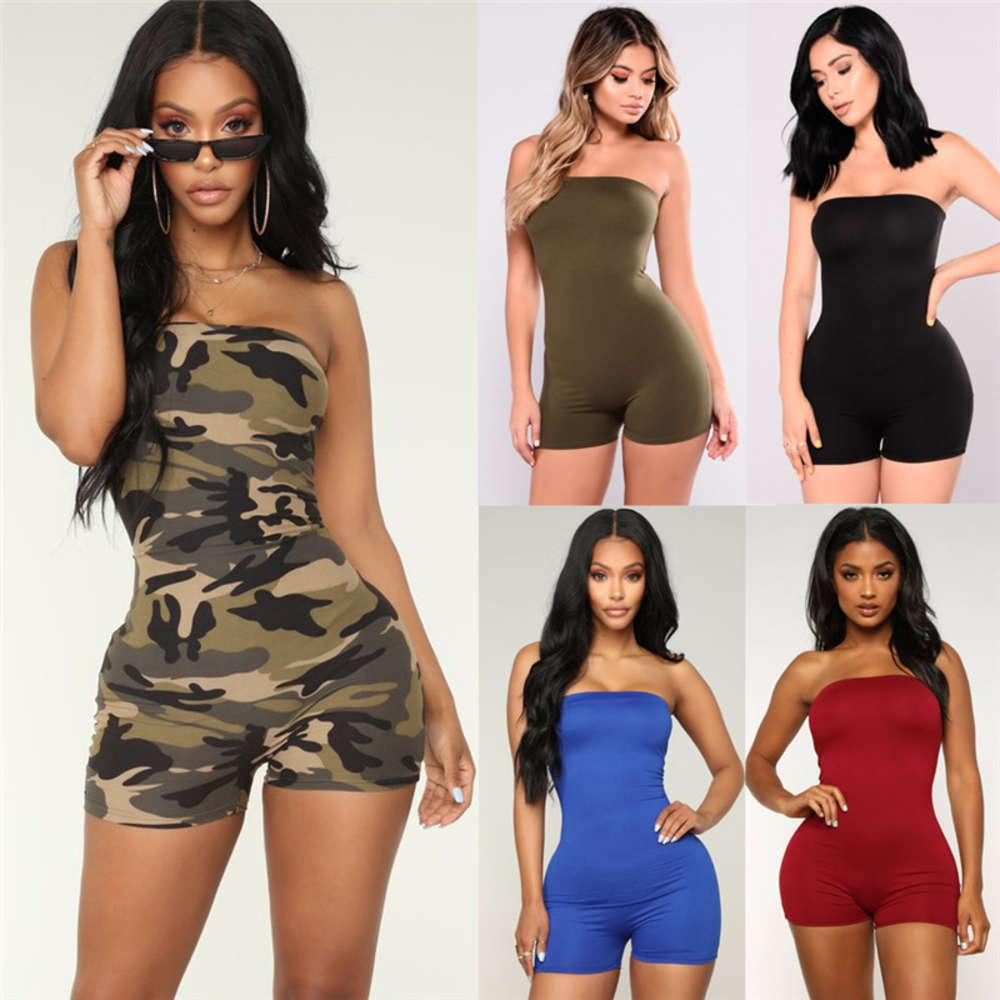 Off shoulder Women Romper mini playsuits Sexy Bodycon Club Casual Fitness Strappy Tube Sleeveless Jumpsuits Outfits Summer set
