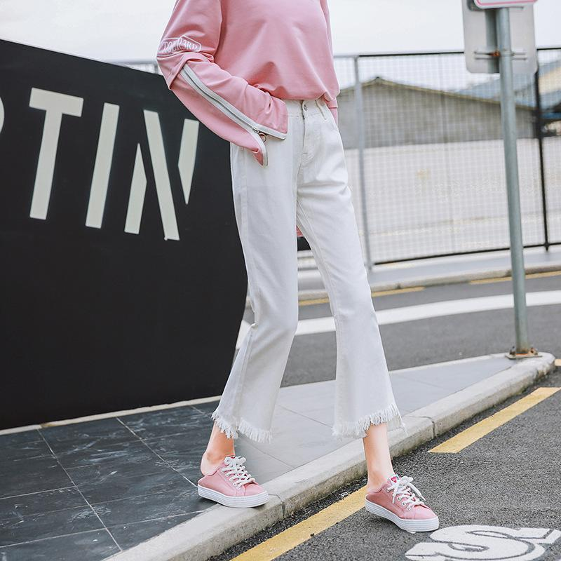 Jeans Super Versatile Slim High Waist Denim Micro Flamato per le Donne Coreane Bianco e nero Slip Spolful Spolful Wide Gamper Capris
