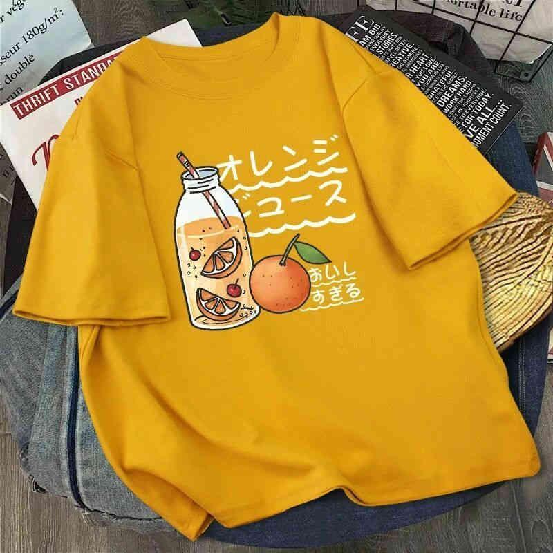 Kawaii impressão camiseta mulheres harajuku ullzang moda t-shirt gráfico bonito desenhos animados estilo coreano top tees feminino verano mujer 210323