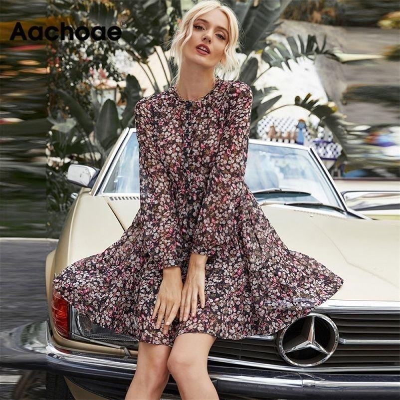 Aachoee boho estilo floral impressão plissada vestido longo manga mulheres mini vestido o pescoço solto senhoras vestidos praia sundress ropa mujer 210320